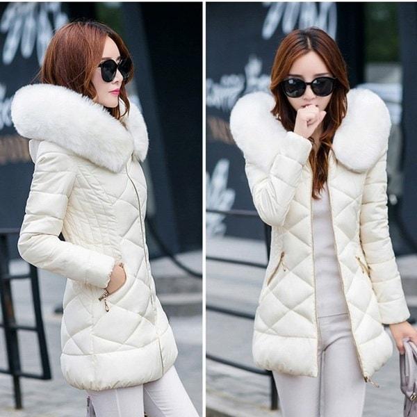 ファッションレディースウインタージャケットとコート女性のパーカー厚いウォームフェイクファーカラーフード付きAnorak Wome