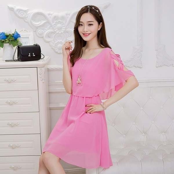 Chiffon Dress In The Long Thin Summer Short Waisted Strapless A-line Skirt Female A CZ6