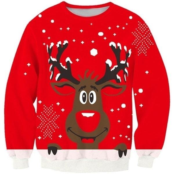 デジタル印刷クリスマスレッドの背景かわいい小さな鹿セーターヘッジ