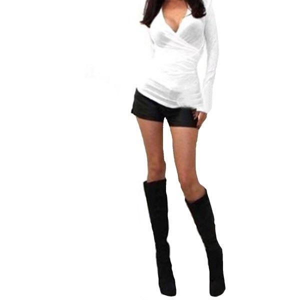 セクシーな女性Vネックラップローカットクリスクロスロングスリーブフィットシャツティートップ
