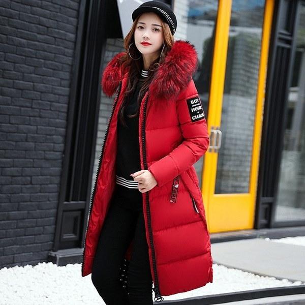 2017新しい女性ロングウォームコートフェイクファーパーカーパーカー女性はダウンジャケットコットン服プラス