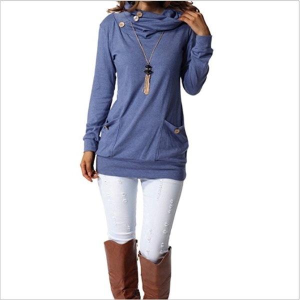 2017女性ファッションロングスリーブパイルカラー秋ルーズレディプルオーバーティーシャツトップブラウスプラスSiz