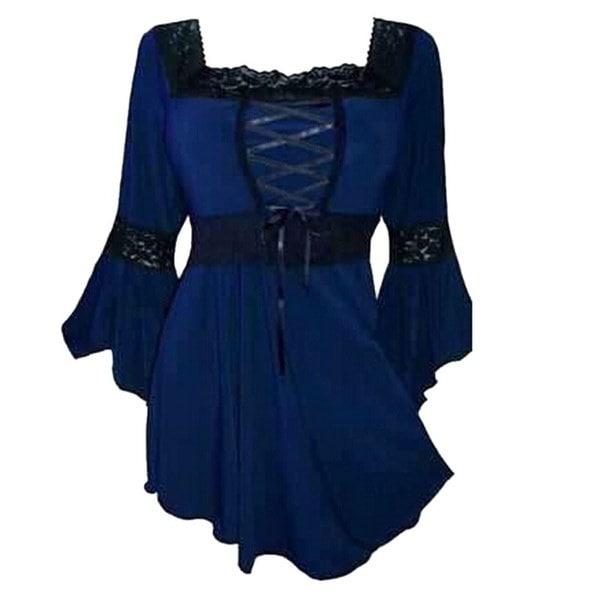 女性のフレアスリーブレースアップブラウスコルセットトップシャツ女性スクエア3/4スリーブレースプリーツ裾トップスB