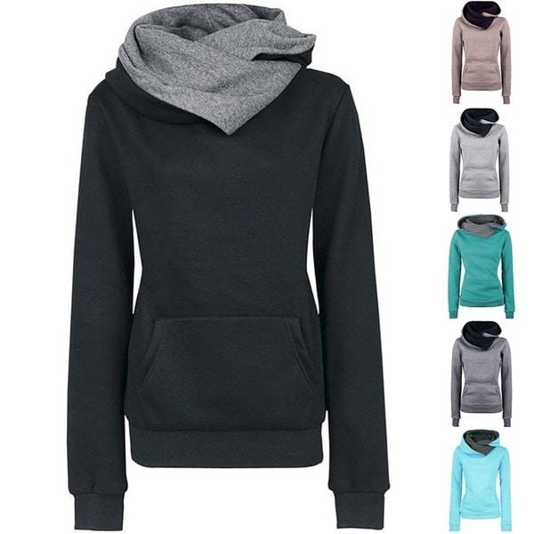 ファッション女性ロングスリーブパーカースウェットセーターフード付きコートプルオーバー