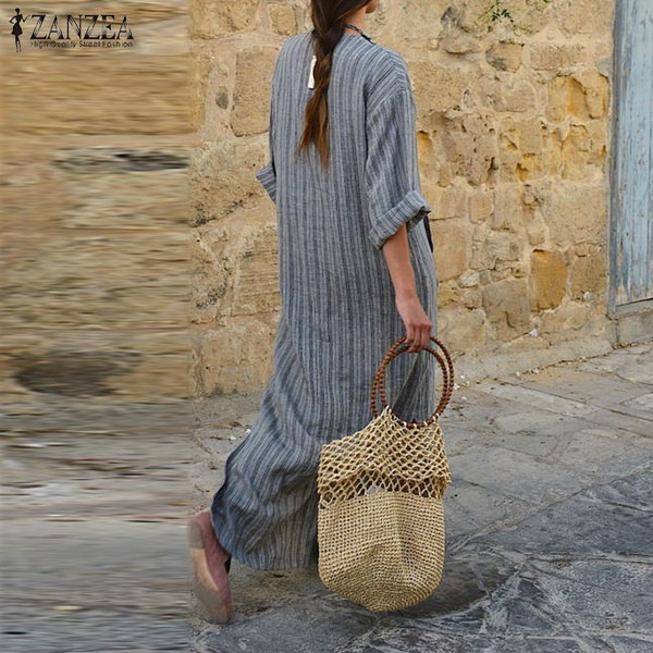 Autumn ZANZEA Women Sexy V-Neck Long Sleeve Dresses Vintage Casual Loose Maxi Long Vestidos