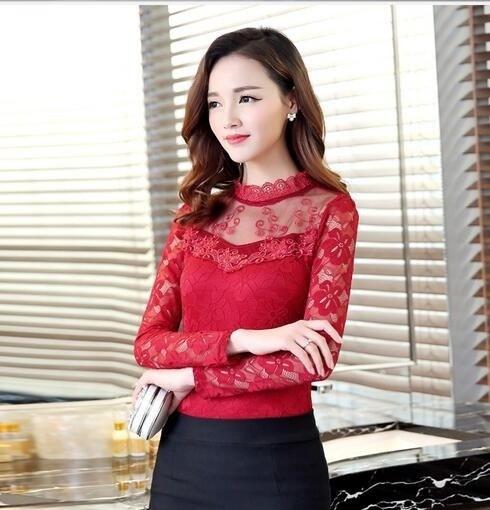 ファッション女性のブラウスシャツ長袖シャツ女性ヴィンテージセクシーなかぎ針編みガーゼホワイトレースブラウスL