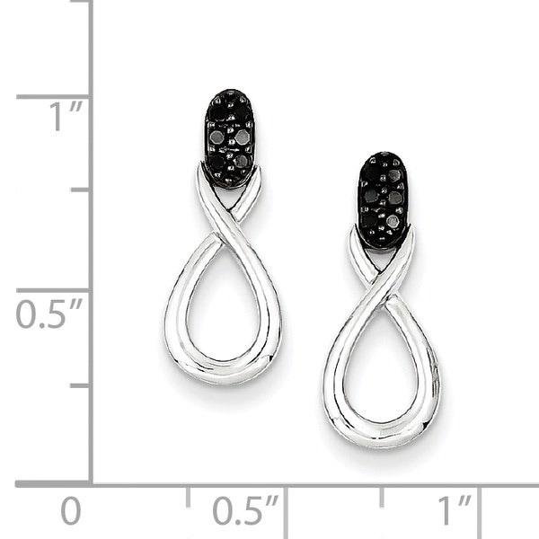 スターリングシルバーW /ロジウムメッキブラックダイヤモンドピアス(0.8インチロング)