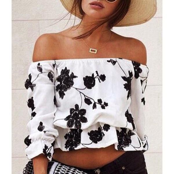 女性の秋ファッションスタイルセクシーなオフショルダーロングスリーブシャツPrined Blouse Crop Top