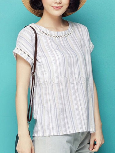 White Blouse Stripes Buttons Cotton Top for Women