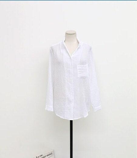 レディースカジュアルルーズプラスサイズコットンリネンブラウスロングスリーブシャツ