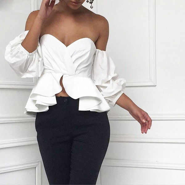 ファッション女性のセクシーなオフショルダークロップトップス夏のルーズシャツTシャツブラウスA