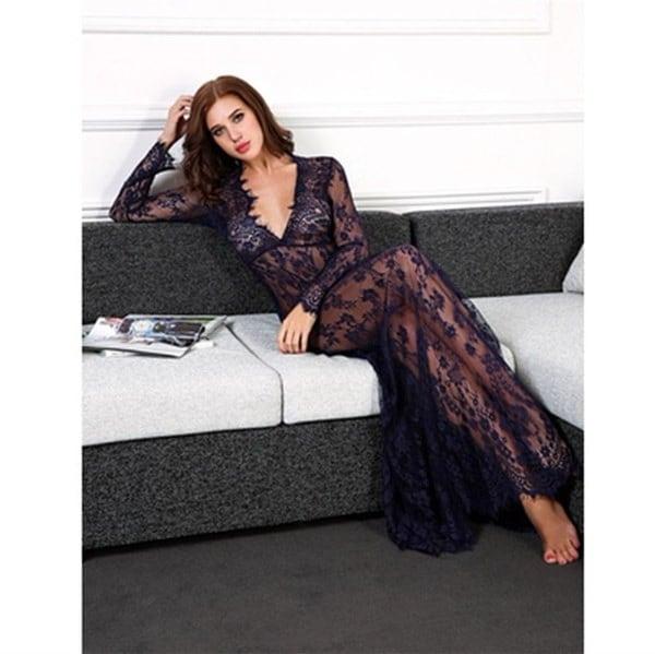 女性のセクシーなディープVネックレース花ハイウエストロングマキシドレスパーティーウェディングドレスプラスサイズ