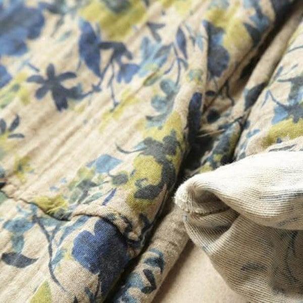 送料無料ワンピース 長袖 ロングTシャツ 花柄 大きいサイズ ゆったり スリット入り プルオーバー レディース 綿麻 ヘンリーネック スウェ