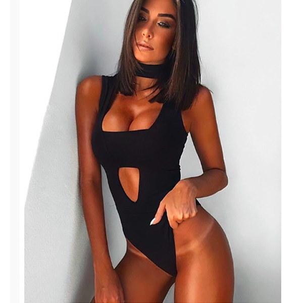 新しい女性夏のファッション高襟ノースリーブセクシーなタイツジャンプスーツロンパース