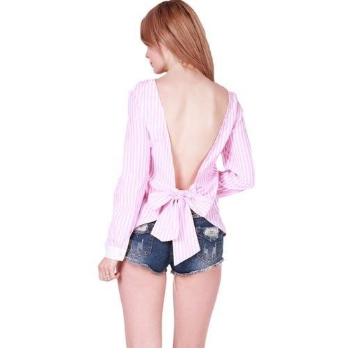 セクシーな女性の長袖のベアバックBowknotストライプシャツトップブラウスレディ