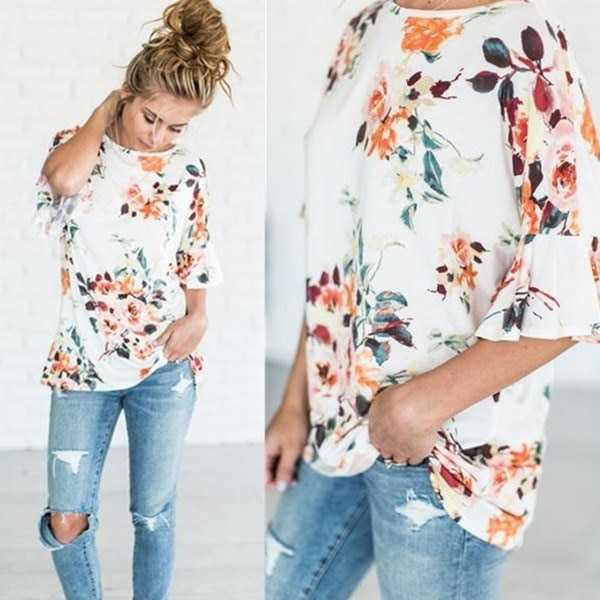 Fashion Women Floral T-shirts Casual Speaker Sleeves Tops Plus Size Figure 11 size table