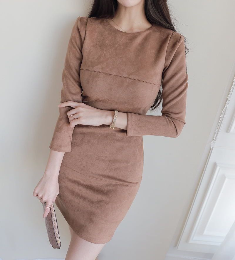 Slim line suede dress with rosary Korean fashion style