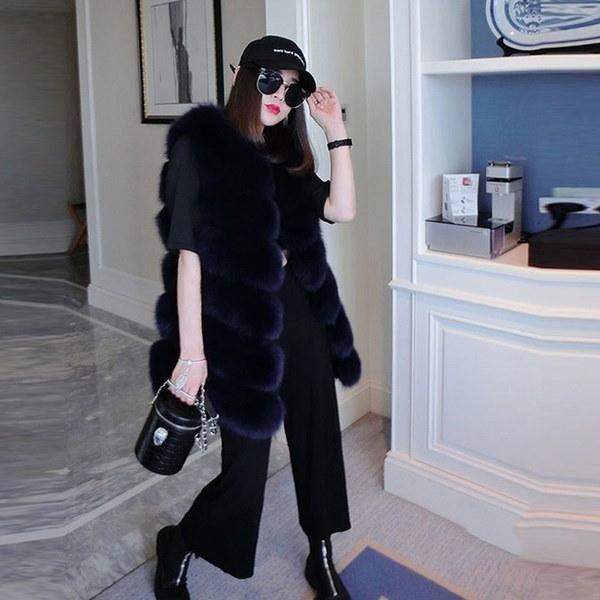 New Hot Lady  Fur Vest Coat Luxury Faux Fox Warm Winter Coat Vests