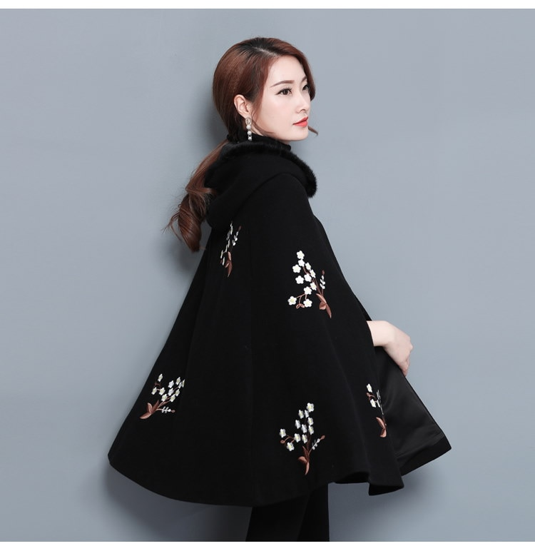 コート 刺繍 ゆったり フリル スカラップ 切替 ボタン ファイクファー ファッション カジュアル