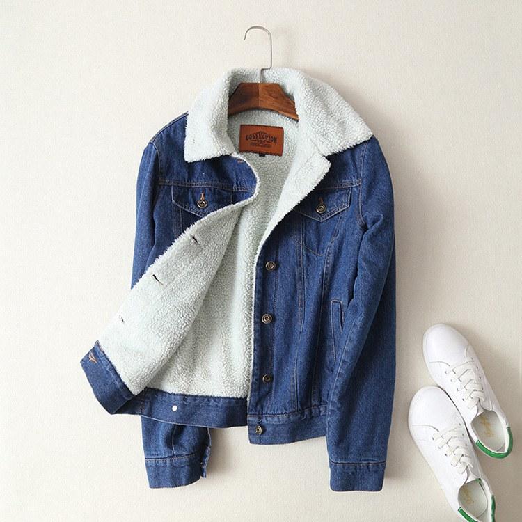 春秋冬新女性ラムズウールコートで4ポケット長袖暖かいコート生き抜く広いデニムジャケット