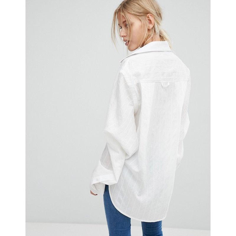 カレントエアー レディース トップス ブラウス・シャツ【Current Air White Shirt with Fine Stripe】White