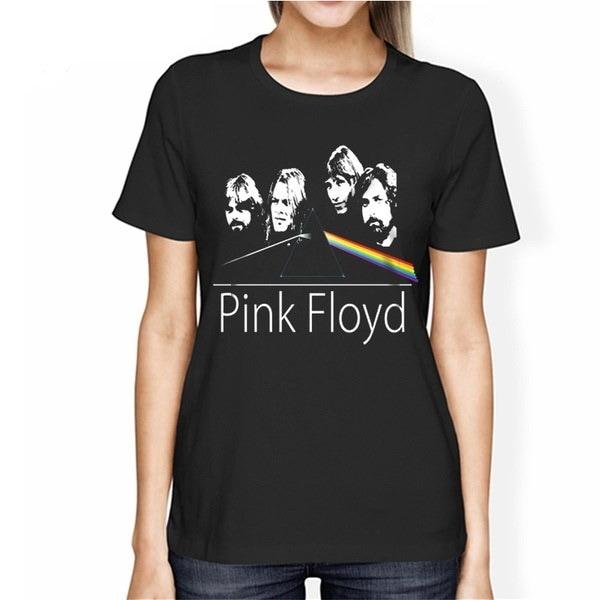 Women Pink Floyd Print Tshirt Short Sleeves Cotton Plus Size Fashion Tops Tees