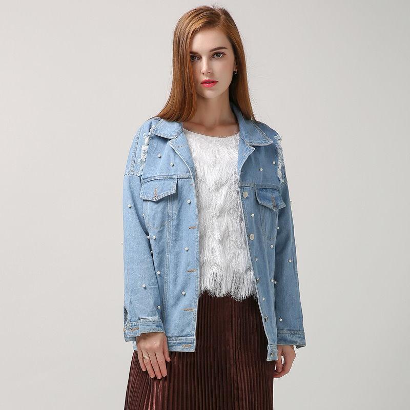 【twotwinstyle]春の韓国デニムジャケットの女性の基本的なコートパールビーズは穴長袖ストリート新しい服をリッピング