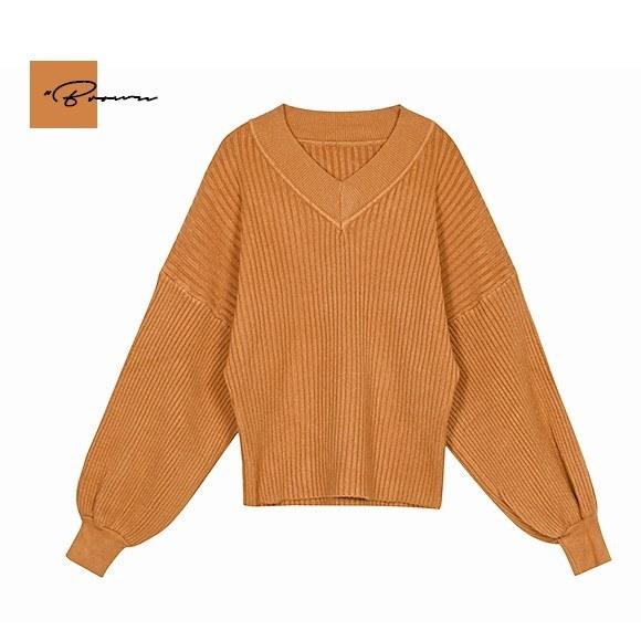 ニット トップス レディース パフスリーブ Vネック セーター カジュアル 長袖 無地 韓国 ファッション 秋冬