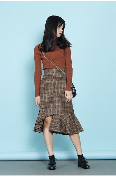 【e0116】フリルタイトスカート アシンメトリー チェック柄 トレンド 韓国ファッション
