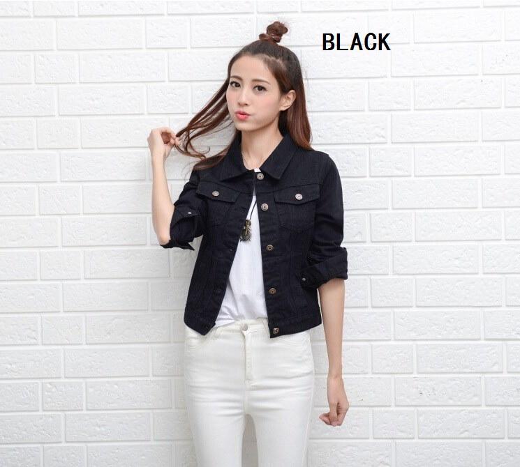 デニムジャケット女性ショートジーンズオーバーコートレディースジャケットトップスカウボーイジャケット襟スリム白黒ジーンズ女性高品質