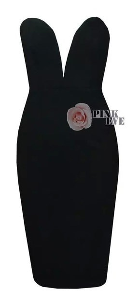 2014ファッションセクシーな包帯ドレスstraplessドレスVネックハイウエストの膝丈のドレス。パーティードレス#JY