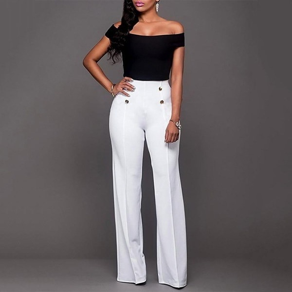 Vicabo Double-breasted Wide Leg Pants Fashion Women High Waist England Style Plus Size 2XL Office La