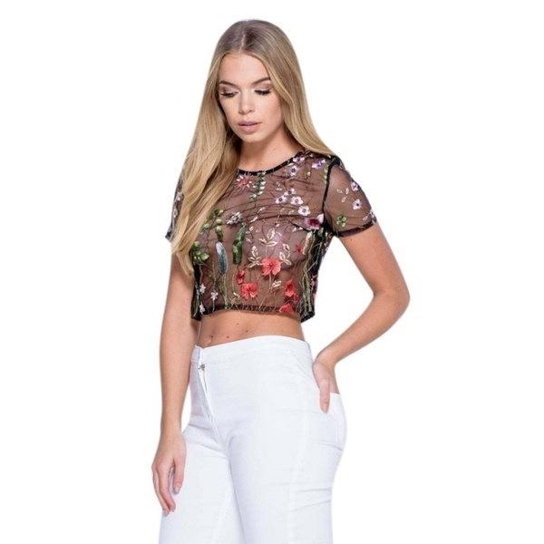 ファッション夏の女性の刺繍フラワーは、Tシャツを参照してくださいセクシーな黒メッシュの女性は、