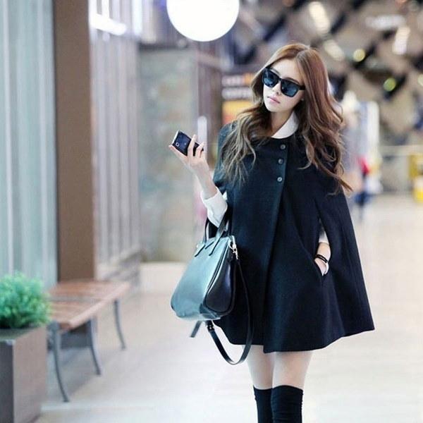 新しいファッションレディースブラックバットウィングケープウールポンチョジャケットコート秋冬ウォームクロークレディースアウトレット