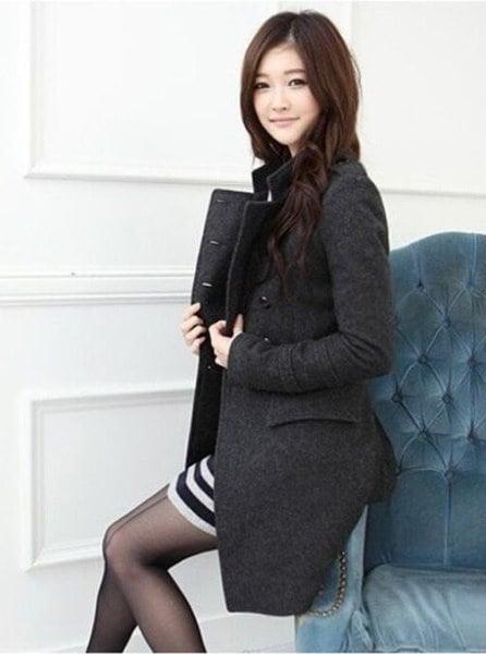 ホット!!韓国の新ファッション女性スリムコートダブルブレストカラーウールコート、2色