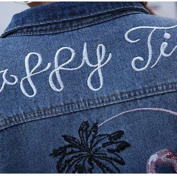 新しいファッション刺繍デニムジャケット女性レトロルーズフラミンゴパターンコートアウター