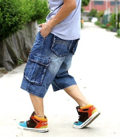 男性プラスサイズ男性のためのゆるやかなバギーショートジーンズラッパーのための男の子のヒップホップスケートボードパンツラップパンツヒップホップ大30-46
