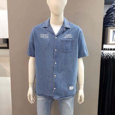 [SAY公式ストア][FRJ](OVER)5部オープンカラーデニムシャツ(F92M-SH124A)