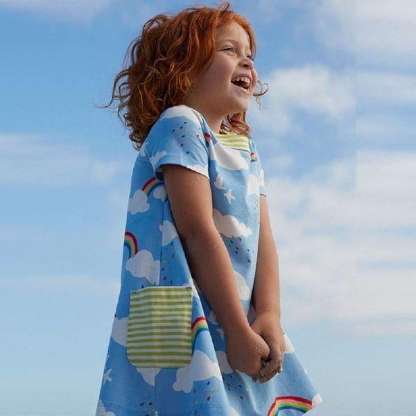Girls Short Sleeve Cotton Crewneck T-shirt Dress Children Costume ( Rainbow )