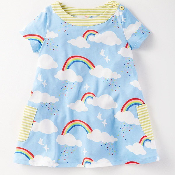 Girls Short Sleeve Cotton Crewneck T-shirt Dress Children Costume ( Rainbow )