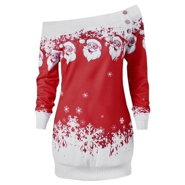 2017秋と冬の女性ファッションセクシーなロングスリーブワンショルダープリントドレスカジュアルクリスマスSl