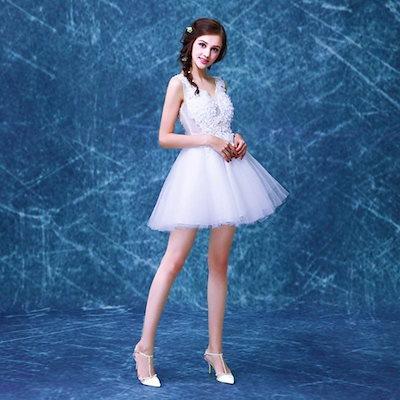 花嫁ウェディングドレス ブライズメイド礼服 花飾りレース バックレス パーティードレス イブニングドレス LFDXMY1A20
