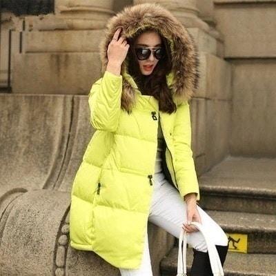 新しいコート&ジャケット2016パーカーのフード付き冬のジャケットの女性の人工毛皮の襟の冬のコートの女性のロングコートの広告