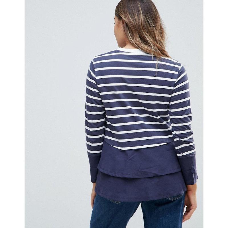 エイソス レディース トップス【ASOS Maternity NURSING Long Sleeve Double Layer Top in Navy Stripe】Multi