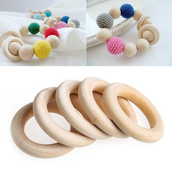 5本の赤ちゃんナチュラルティエリングリング木製のネックレスのブレスレットDIYの工芸品MRR