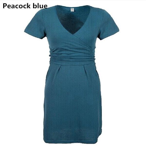 妊娠中のVネック半袖綿の妊娠ドレスの夏の弾性ウエストのための出産服のドレス