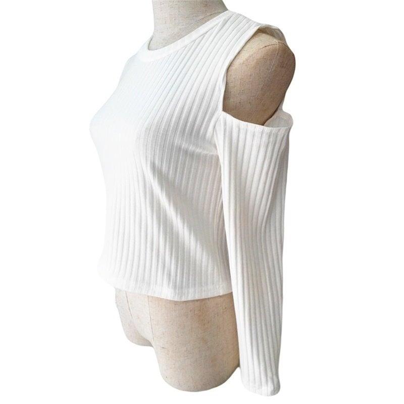 トレンディなファッション女性のクラシックブラック/ホワイトセクシーなオフショルダーニットスリムセーターOネックベアMidr