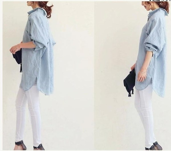 Street Fashion Casual Chic Oversized Long Sleeves Boyfriend Shirt Jacket Denim Light Blue White Fall Winter Women's