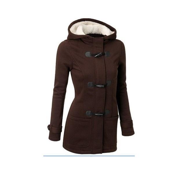 クラシックウィンタークローブレディースウールブレンドフード付きコートジャケット(ブラック、グレー、ダークグレー、コーヒー)