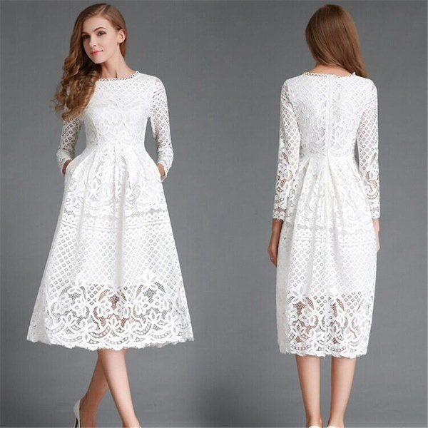 ロングスリーブファッション美しいエレガントなコスチュームカジュアルドレスパーティードレス女性の服